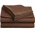2 Line Embroidered Sheet Set  (Chocolate Brown)