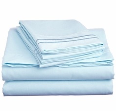 2 Line Embroidered Sheet Set (Light Blue)