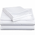 2 Line Embroidered Sheet Set  (White)