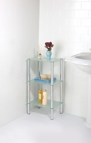 3 Tier Frosted Glass Rectangle Etagere