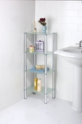 4 Tier Frosted Glass Rectangle Etagere