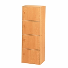 4-Tier Storage Cubby with Doors (Beech)
