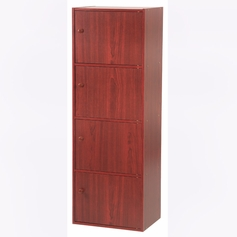 4-Tier Storage Cubby with Doors (Mahogany)