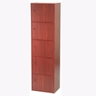 5-Tier Storage Cubby with Doors (Mahogany)