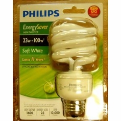 6 pack of Philips Energy Saver Mini-twister Soft White Lightbulbs