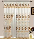 Addison Embroidered Curtain with Backing (Beige/Gold)
