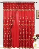 Addison Embroidered Curtain with Backing (Burgundy)