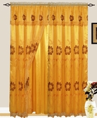 Addison Embroidered Curtain with Backing (Gold)