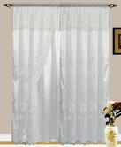 Addison Embroidered Curtain with Backing (White)