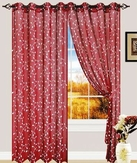 Anny Linen Look Curtain with Grommets (Burgundy)