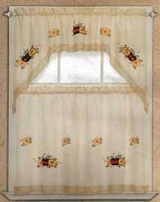 Apple Lace Kitchen Curtain Set (Beige)