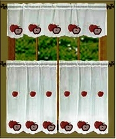 Red Apple Sheer Kitchen Curtain Set