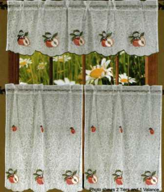Apple Textured Sheer Kitchen Curtain Set