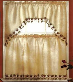 Arlene Rose Kitchen Curtain Set (Beige)