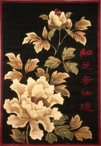 Asian Flowers 4x6 Area Rug