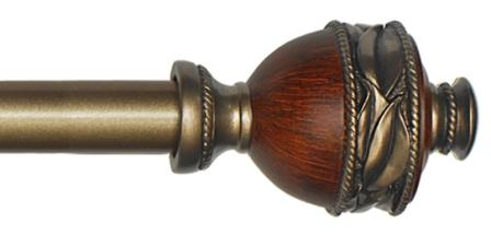 Ava Curtain Rod (Woodtone and Brushed Antique)