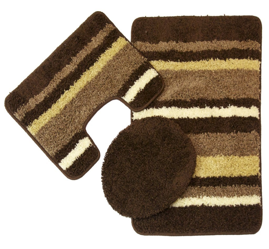 Avalon 3 Piece Bath Rug Set (Beige/Brown)