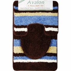 Avalon 3 Piece Bath Rug Set (Blue/Brown)