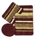 Avalon 3 Piece Bath Rug Set (Burgundy)