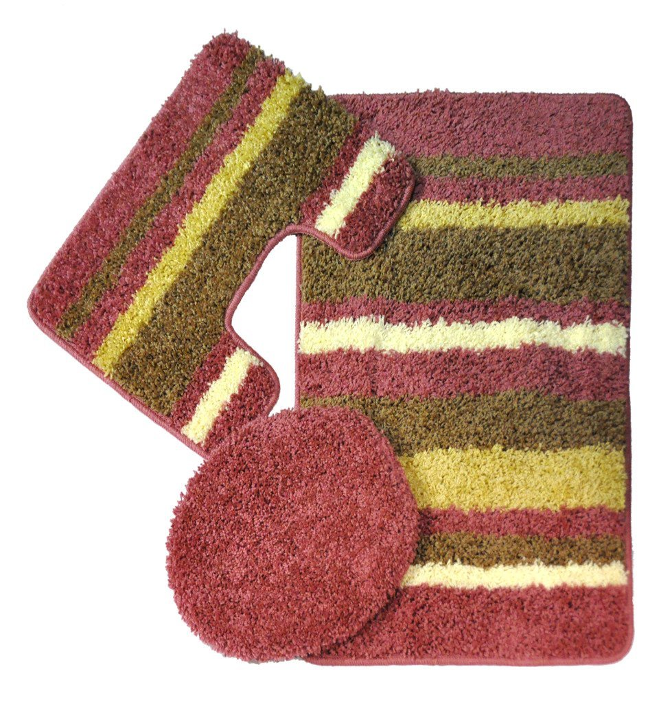Cool Essence Nylon Washable Bathroom 3 Piece Rug Set