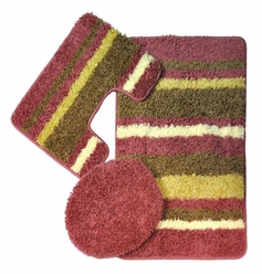 Avalon 3 Piece Bath Rug Set (Pink)