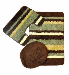 Avalon 3 Piece Bath Rug Set (Sage/Brown)