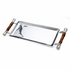 Bamboo Handle Rectangular Tray
