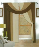 Bella 4 piece Window Set (Chocolate & Beige)