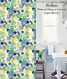 Bellini Floral Printed Shower Curatin (Blue)