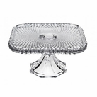 "Square Belmont 10"" Clear Cake Plate"
