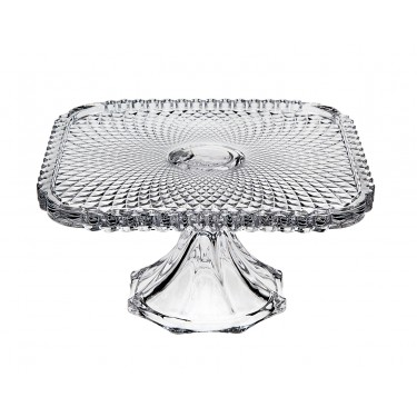 Square Belmont 10″ Clear Cake Plate