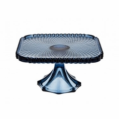 "Belmont Blue 8"" Square Cake Plate"