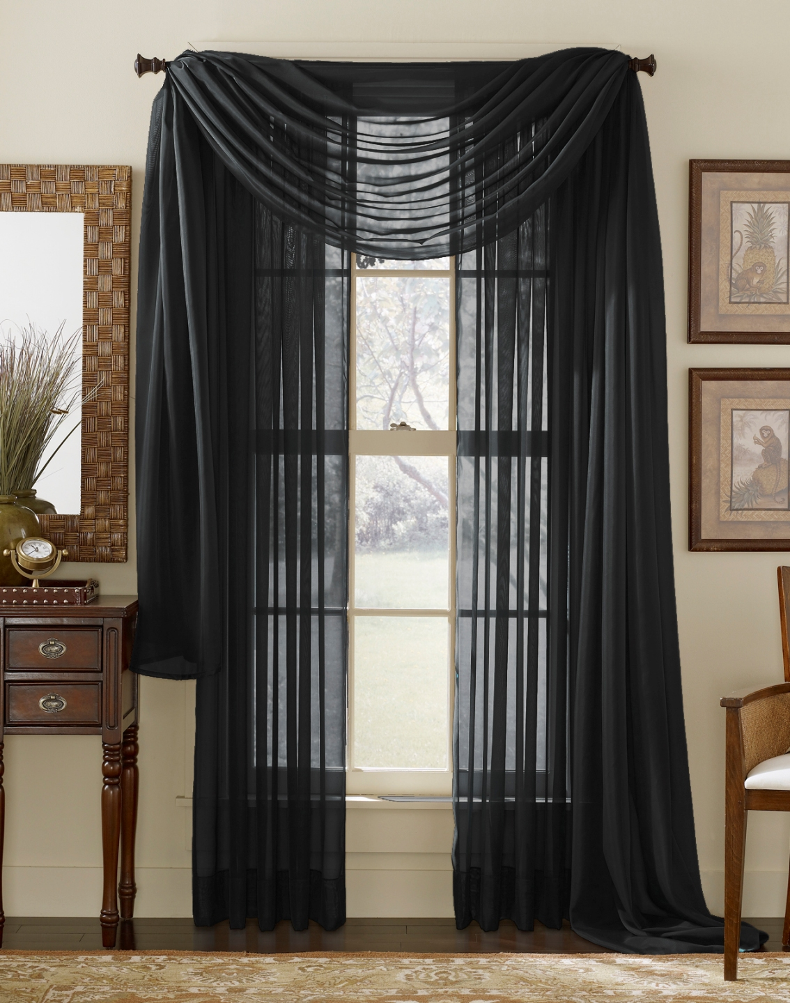 Home Curtains & Window Treatments Sheer Curtains Sheer Scarves Black ...