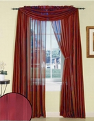 Burgundy Silky Stripe Sheer Panel