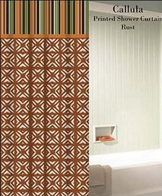 Callula Printed Shower Curtain (Rust)