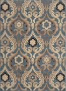 Catalina Flower Scroll Area Rug (Blue)