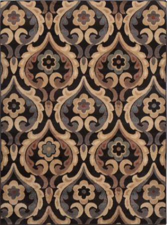 Catalina Flower Scroll Area Rug (Brown)
