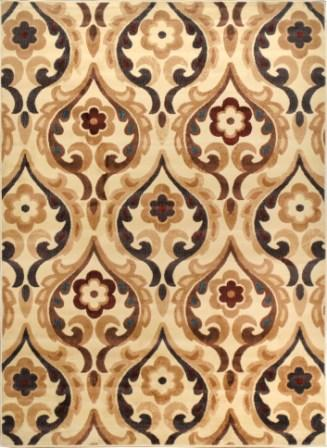 Catalina Flower Scroll Area Rug (Ivory)