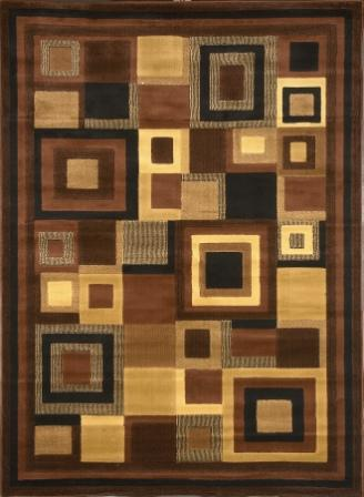 Catalina Modern Squares Area Rug (Brown)