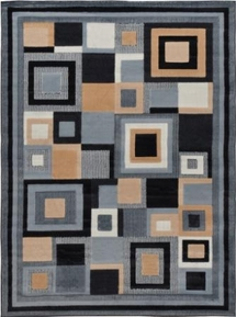 Catalina Modern Squares Area Rug (Black/ Grey)
