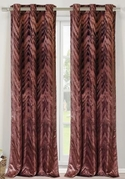 Chevron Faux Silk Curtain Set of 2 (Chocolate Brown)