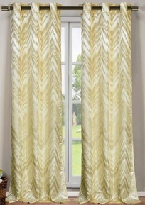 Chevron Faux Silk Curtain Set of 2 (Ivory/Beige)