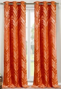 Chevron Faux Silk Curtain Set of 2 (Rust)