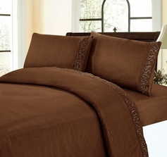 Embroidered Sheet Set (Chocolate Brown)