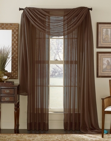 Chocolate Sheer  Curtain Scarf