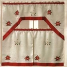 Christmas Poinsettia Kitchen Curtain