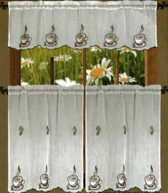Coffee Sheer Kitchen Curtain Set