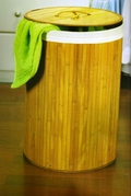 Collapsible Bamboo Hamper with Cotton Twill Laundry Bag