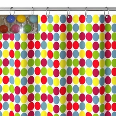 Color Balls Shower Curtain Set with 12 Curtain Rings