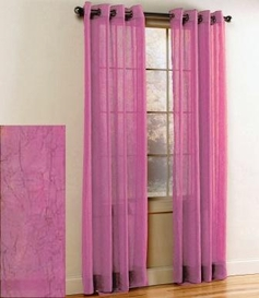 Crystal Crushed Grommet Sheer Panel <br> (Dusty Rose Pink )